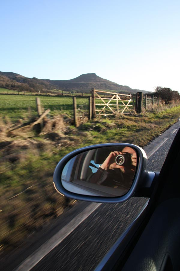 Approaching Rosebury Topping by car