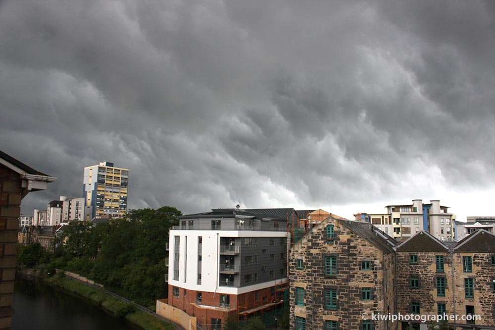 Dramatic storm clouds over Leith, Scotland.